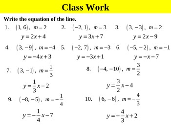 Algebra 5.6A Point-Slope Form (given a point and slope) PPT + ...