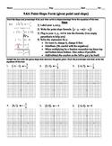 Holt Algebra 5.6A Point-Slope Form (given a point and slope) Worksheet DOC & PDF