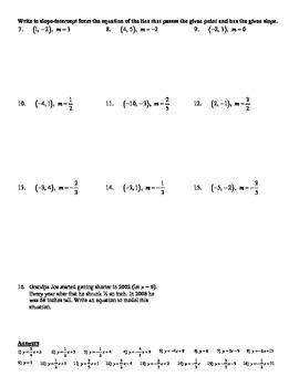 point slope form worksheet  Holt Algebra 10.10A Point-Slope Form (given a point and slope) Worksheet DOC  & PDF