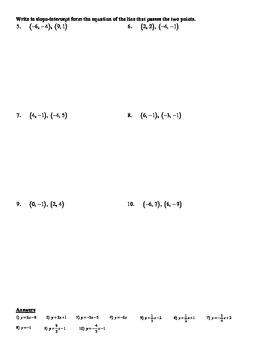 Holt Algebra 5.6B Point-Slope Form (given two points) Worksheet DOC & PDF