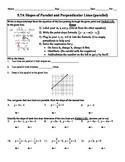Holt Algebra 5.7A Slopes of Parallel & Perpendicular Lines Worksheet DOC & PDF