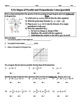 Holt Algebra 5 7a Slopes Of Parallel Perpendicular Lines Worksheet