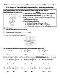 Holt Algebra 5.7B Slopes of Parallel & Perpendicular Lines Worksheet DOC & PDF