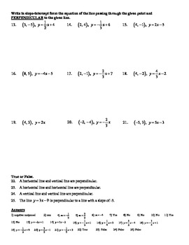 Holt Algebra 5.7B Slopes of Parallel & Perpendicular Lines Worksheet DOC & PDF