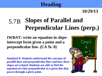 Holt Algebra 5.7B Slopes of Parallel & Perpendicular Lines