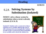 Holt Algebra 6.2A Solving Systems by Substitution (isolated) PPT
