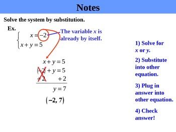 Holt Algebra 6.2A Solving Systems by Substitution (isolated) PPT + Worksheet