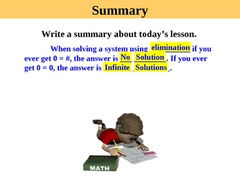 Holt Algebra 6.3C Solving Systems by Elimination (# of sol) PPT + Worksheet