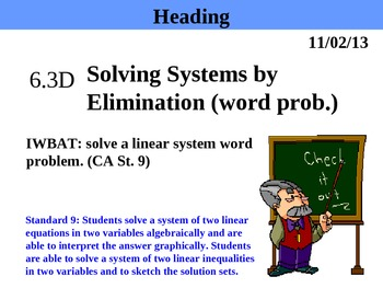Holt Algebra 6.3D Solving Systems by Elimination (word pro