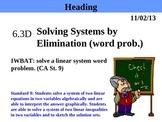 Holt Algebra 6.3D Solving Systems by Elimination (word problems) PPT + Worksheet
