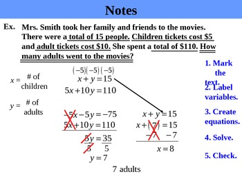 Algebra 6.3D Solving Systems by Elimination (word problems) PPT + ...