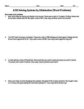 Holt Algebra 6.3D Solving Systems by Elimination (word prob's) Worksheet DOC&PDF