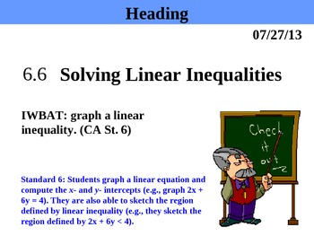 Holt Algebra 6.6 Solving Linear Inequalities PPT