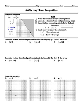 Holt Algebra 6.6 Solving Linear Inequalities Worksheet DOC & PDF