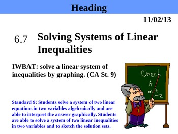 Holt Algebra 6.7 Solving Systems of Linear Inequalities PPT + Worksheet