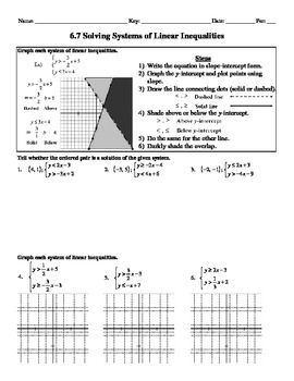 Holt Algebra 6.7 Solving Systems of Linear Inequalities Worksheet DOC & PDF