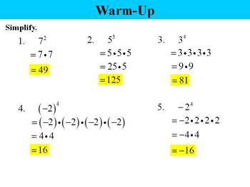 Holt Algebra 7.1 Integer Exponents PPT