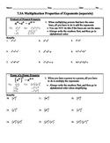 Holt Algebra 7.3A Multip. Properties of Exponents (separate) Worksheet DOC&PDF