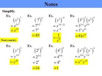 Holt Algebra 7.3A Multiplication Prop's of Exponents (separate) PPT + Worksheet