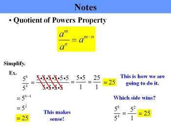 Holt Algebra 7.4 Division Properties of Exponents PPT