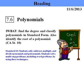 Holt Algebra 7.6 Polynomials PPT
