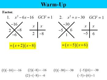 Holt Algebra 8.5 Factoring Special Products PPT + Worksheet