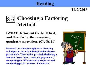 Holt Algebra 8.6 Choosing a Factoring Method PPT + Worksheet