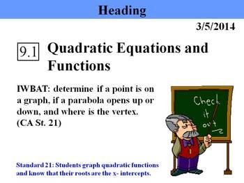 Holt Algebra 9.1 Quadratic Equations and Functions PPT
