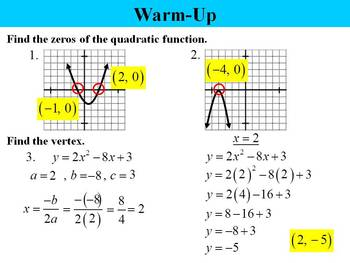 Holt Algebra 9.3 Graphing Quadratic Functions PPT + Worksheet