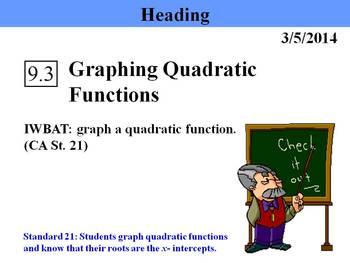 Holt Algebra 9.3 Graphing Quadratic Functions PPT + Worksheet