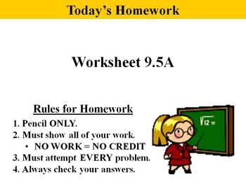 Holt Algebra 9.5A Solving Quadratic Eq'n by Factoring (Standard) PPT + Worksheet