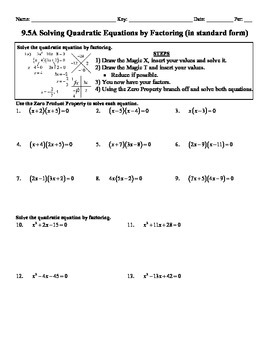 Holt Algebra 9.5A Solving Quadratic Equation by Factoring Worksheet ...