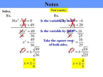 Holt Algebra 9.6 Solving Quadratic Equation by Using Square Roots PPT