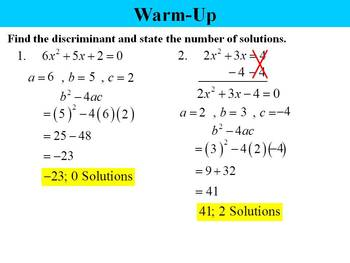 Holt Algebra 9.8A The Quadratic Formula (in standard form) PPT