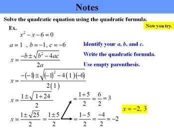 Holt Algebra 9.8A The Quadratic Formula (in standard form) PPT + Worksheet