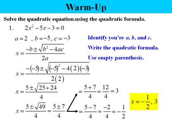 Holt Algebra 9.8B The Quadratic Formula (not standard form) PPT