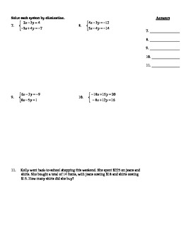 Holt Algebra Ch. 6 Quiz II (6.3) Systems of Equations & Inequalities - DOC & PDF