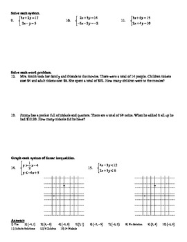 "Holt Algebra Ch. 6 ""Systems of Eq'ns & Inequalities"" Review Worksheet DOC & PDF"