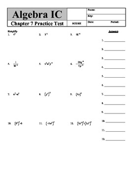 "Holt Algebra Ch. 7 ""Exponents & Polynomials"" Practice Test - DOC & PDF"