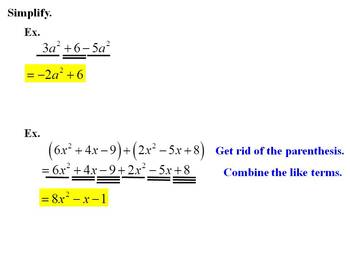 "Holt Algebra Ch. 7 ""Exponents & Polynomials"" Review PPT + Worksheet Bundle"