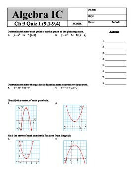 Holt Algebra Ch. 9 Quiz I (9.1-9.4) Quadratic Equations & Functions - DOC & PDF
