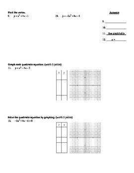Holt Algebra Ch  9 Quiz I (9 1-9 4) Quadratic Equations & Functions - DOC &  PDF