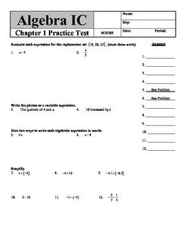 Holt Algebra Chapter 1