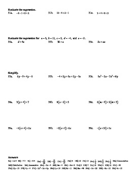 """Holt Algebra Chapter 1 """"Found'tns of Algebra"""" Most Missed Questions - DOC & PDF"""