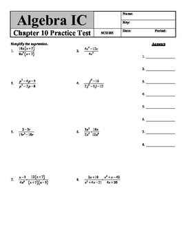 "Holt Algebra Chapter 10 ""Rational Functions & Equations"" Practice Test - DOC&PDF"