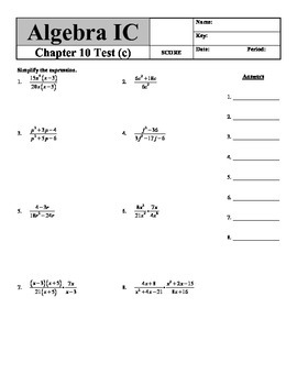 "Holt Algebra Chapter 10 ""Rational Functions & Equations"" Test(c) - DOC & PDF"