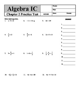 Holt Algebra Chapter 2