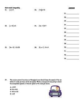 "Holt Algebra Chapter 3 ""Inequalities"" Practice Test - DOC & PDF"