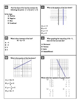 "Holt Algebra Chapter 5A ""Linear Functions"" Practice Test - DOC & PDF"
