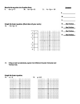 "Holt Algebra Chapter 5A ""Linear Functions"" Quiz I (5.0-5.1) - DOC & PDF"